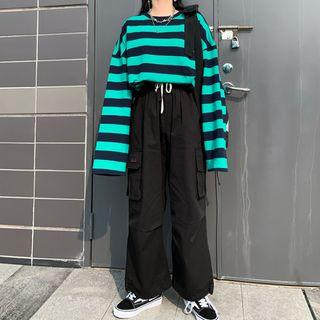 Striped Pullover / Wide-leg Sweatpants