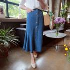 Button-front Denim Maxi Skirt