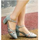 Lattice Ankle Strap Block Heel Pumps