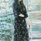 Floral Print V-neck Midi Wrap Dress