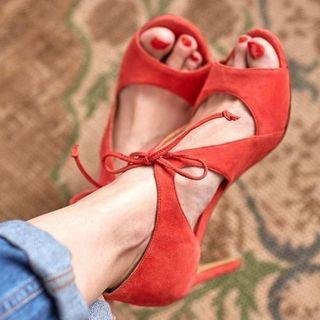 Open Toe Cutout High Heel Sandals