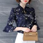 Floral Print Bow Elbow-sleeve Chiffon Blouse