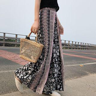 Patterned Wide Leg Pants As Shown In Figure - One Size