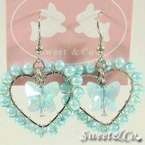 Sweet Lover Blue Heart Butterfly Earrings