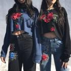 Flower Appliqu  Cropped Pullover