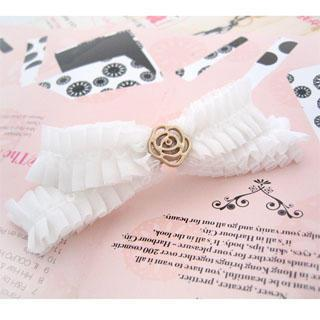 Ribbon Golden Rose Hair Pin -white