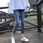 Washed Split Cropped Skinny Jeans