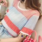 Tassel Short-sleeve Striped Knit Top