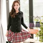 Contrast Plaid Skirt