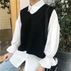 Set: Ruffle Shirt + Knit Vest