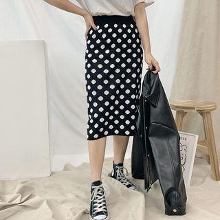 Slit-back Polka-dotted Knit Skirt