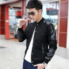 Faux Leather Panel Jacket