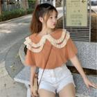 Short-sleeve Ruffle Trim Lace T-shirt