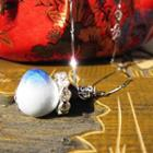 Rhinestone & Ceramic Pendant Necklace Blue - One Size