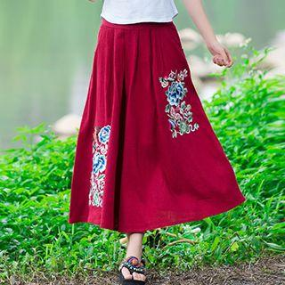 Flower Embroidered Midi Skirt