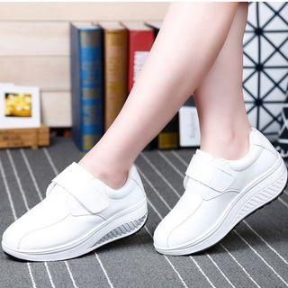 Faux Leather Platform Wedge Adhesive Strap Sneakers
