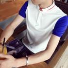 Color Panel Short Sleeve Polo Shirt