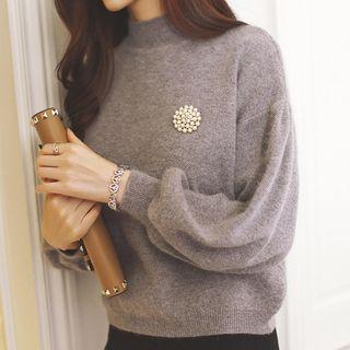 Embellished Mock Neck Lantern Sleeve Sweater
