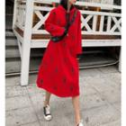 Long Sleeve Print Hooded Dress
