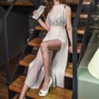 Sleeveless Paneled Slit-front Dress