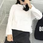 Long-sleeve Slit-hem Long T-shirt