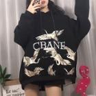 Crane-print Oversized Hoodie