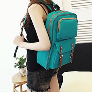 Faux Leather Trim Buckled Backpack