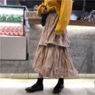 Mock Turtleneck Pullover / Midi Plaid Layered Skirt