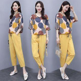 Set: Dotted Elbow-sleeve Blouse + Cropped Harem Pants