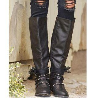 Faux Leather Studded Strappy Tall Boots