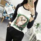 Owl Print Long Sleeve T-shirt