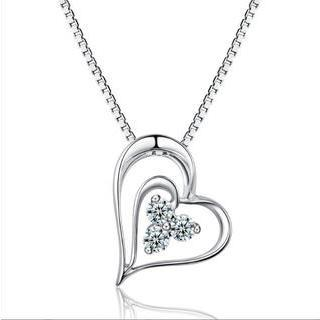 18k White Gold Open Heart Triple Diamond Accent Pendant Necklace (0.11 Cttw) (free 925 Silver Box Chain, 16)
