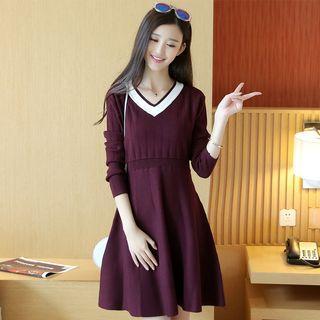 Panel V-neck Long-sleeve Knit Dress