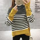 Turtleneck Color Block Striped Sweater
