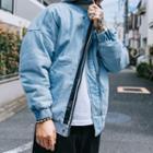 Washed Hooded Padded Denim Jacket