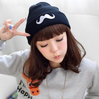 Moustache-embroidered Beanie Black - One Size