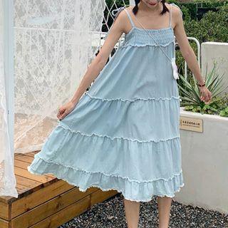 Tie-strap Denim Dress Blue - One Size