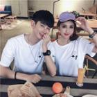 Couple Matching Short-sleeve Star Embroidery T-shirt