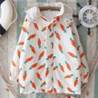 Carrot Print Hooded Padded Jacket