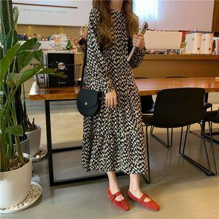 Patterned Long-sleeve Midi A-line Dress As Shown In Figure - One Size