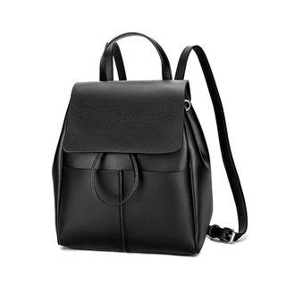 Faux Leather Hoop Accent Backpack Black - One Size
