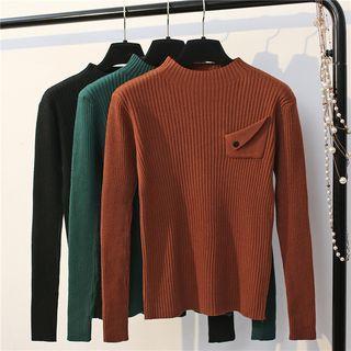 Long-sleeve Knit Plain Top