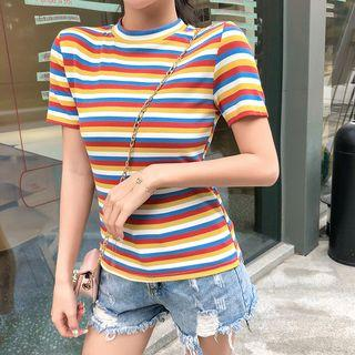 Striped Short-sleeve Knit Top Stripe - Yellow - One Size