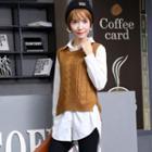 Set: Long-sleeve Blouse + Knit Vest