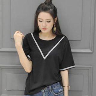 Contrast Trim Elbow Sleeve T-shirt