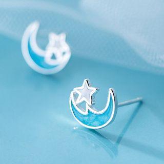 925 Sterling Silver Moon & Star Stud Earring As Shown In Figure - One Size