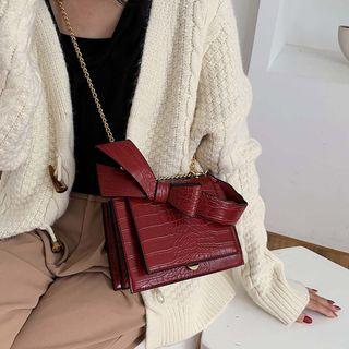Croc Grain Bow Flap Crossbody Bag