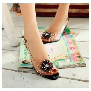 Clear Flower Wedge Sandals