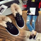 Faux-suede Fur Trim Sneakers