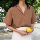 Notch Lapel Elbow-sleeve Shirt